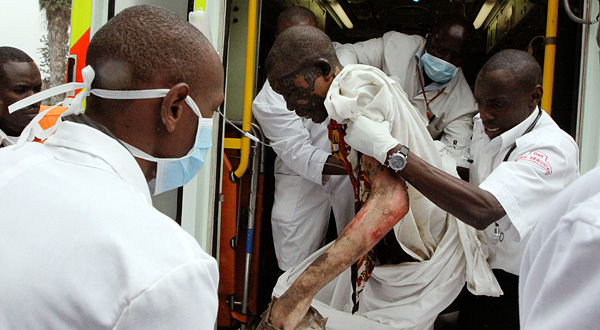 Man injured in the pipeline explosion being brought to the Kenyatta National Hospital