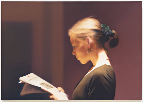"Gerhard Richter's ""Reader,"" 1994, part of the ""Panorama"" exhibition at the Tate Modern in London."