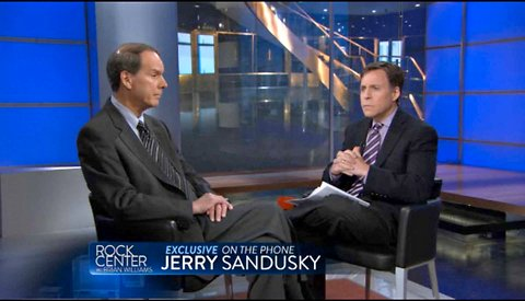 "Bob Costas, right, with Jerrry Sandusky's lawyer, Joe Amendola, on ""Rock Center with Brian Williams"" on NBC. Costas interviewed Jerry Sandusky by telephone."
