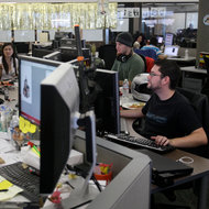 Zynga employees in its Mafia Wars 2 studio. The company has autonomous teams for each game, like FarmVille and CityVille.