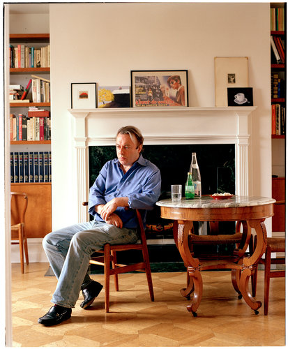 Christopher Hitchens at home in Washington D.C. on April 26, 2007