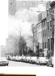 West 11th Street moments after an explosion in a town house that had been used by the Weathermen.