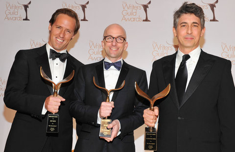 "The screenwriters Nat Faxon, Jim Rash and Alexander Payne at the Writers Guild Awards. They won the adapted screenplay award for ""The Descendants."""
