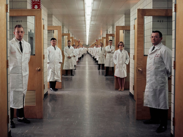 Bell Labs in New Jersey in 1966. The long hallways encouraged interaction among researchers. (Elliott Erwitt/Magnum Photos)
