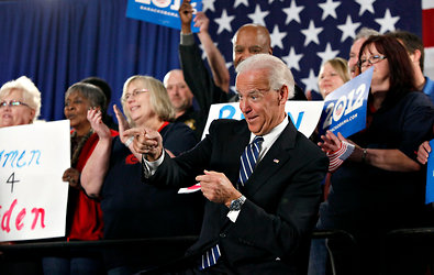 Vice President Joseph R. Biden Jr. reacted to cheers before speaking on Thursday at the United Auto Workers Local 12 hall in Toledo, Ohio.
