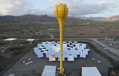 At Aora's existing plant in Almeira, Spain, mirrors focus the sun's energy on a modest tower where the heat is captured and used to spin a turbine. After the sun goes down, a conventional fuel can be used instead.