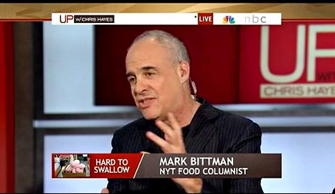 The author discussing pink slime with Chris Hayes and company on April 7.
