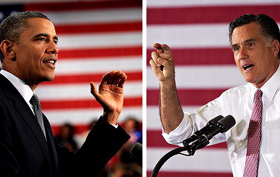 President Obama, left, and Mitt Romney both spoke at events in Ohio on Thursday.