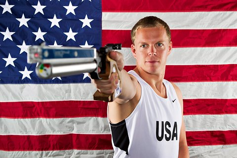 Dennis Bowsher with the laser pistol that will be used in the pentathlon at the Olympics in London.