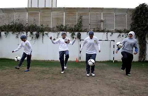 Saudi female soccer players practice at a secret location in Riyadh, Saudi Arabia.