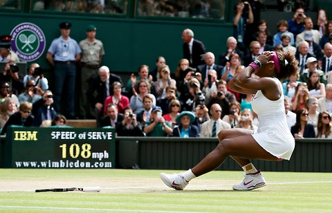 Serena Williams after winning her fifth Wimbledon title.