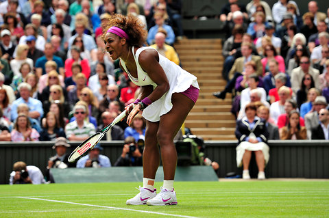 Serena Williams showed her frustration in losing the second set.