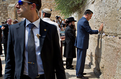 "Mitt Romney visited the Western Wall in Jerusalem on Sunday. ""We respect the right of a nation to defend itself,"" he said."