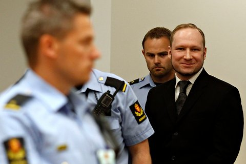 Anders Behring Breivik arriving in court on Friday.