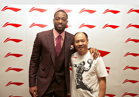 Dwyane Wade, left, and Li Ning at a press conference in Beijing on Wednesday.