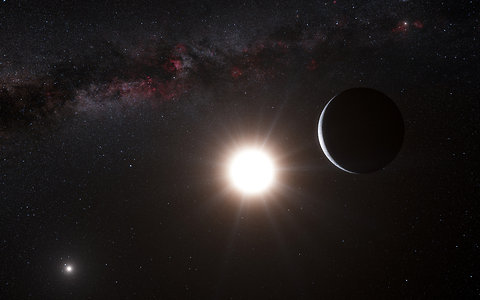 An artist's rendering of a planet astronomers have found in Alpha Centauri, a star system that is the Sun's closest neighbor. Go to related article »