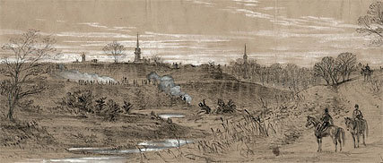 Illustrator Alfred R. Waud's sketch of pickets near Fredericksburg, circa December 1862
