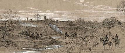 Illustrator Alfred R. Waud's sketch of pickets near Fredericksburg, circa December 1862