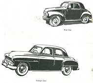 A Fiat car, top right, and Dodge car, bottom left.