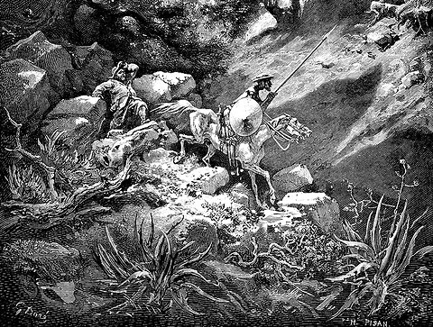 A detail from a Gustave Dore illustration depicting the Cervantes character Don Quixote.