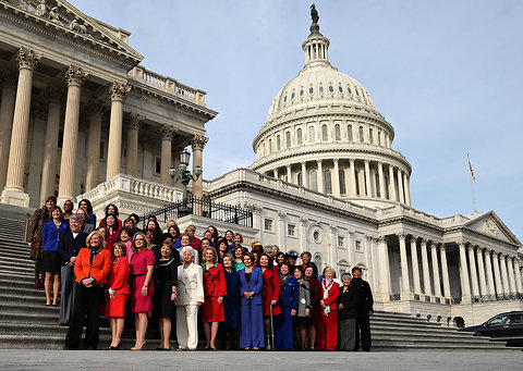 Female members of the House Democratic caucus posed for a photograph on Thursday on the steps of the Capitol.