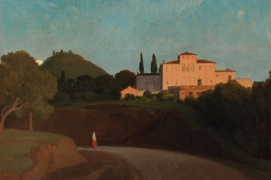 "The Path of Nature  Paul Flandrin's ""View of the Villa Torlonia, Frascati, at Dusk,"" in this show at the Met."