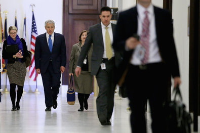 Conservative groupsfinanced by anonymous donors are running television advertisements against Chuck Hagel, President Obama's nominee for secretary of defense.