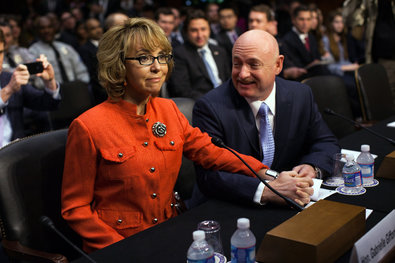 Former Representative Gabrielle Giffords and her husband, Mark E. Kelly, appeared before the Senate Judiciary Committee on Wednesday.