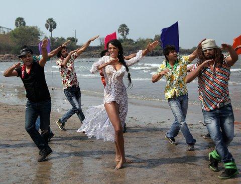 Judi Shekoni, British model and actress in Mumbai, Maharashtra, shooting for her upcoming Bollywood film 'Club Dancer.'