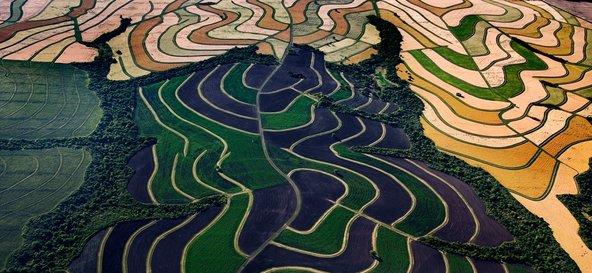 Felder der Laguna Blanca Farm von Douglas Tompkins in Argentinien