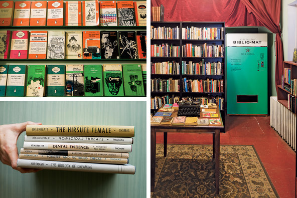 Clockwise from right: Fowler's one-of-a-kind Biblio-Mat; medical and criminal justice books published circa 1960s by Charles C. Thomas; a display of vintage Penguin paperbacks.