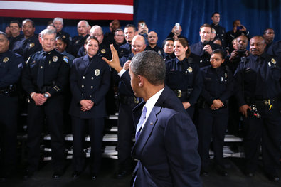 President Obama in Denver last week after speaking about measures to reduce gun violence.
