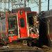An eastbound Metro-North train derailed on Friday, striking a westbound train near Fairfield, Conn., halting service.