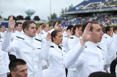"In his commencement speech at the Naval Academy on Friday, the president praised the military as the nation's ""most trusted institution,"" but took note of the recent cases in which service members have been charged with sexual assault."