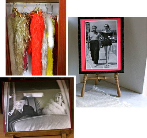 Clockwise from bottom left: Reves's collection of boas; with her husband Emery Reves; with Winston Churchill.