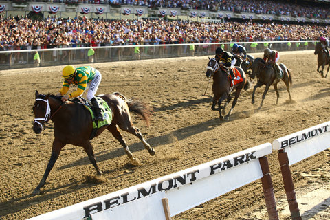 Palace Malice, ridden by Mike Smith, charged ahead of Oxbow and Orb to win the Belmont Stakes on Saturday.