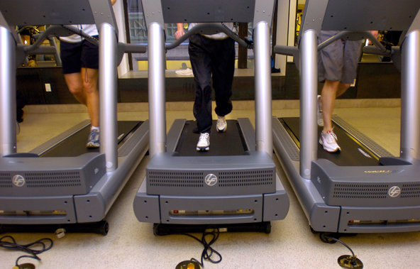 A class at an Equinox gym in Manhattan led members through treadmill exercises.