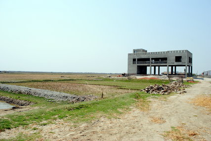 A new cyclone shelter is almost complete in Bainpura village near the Sundarbans forest in southern Bangladesh.