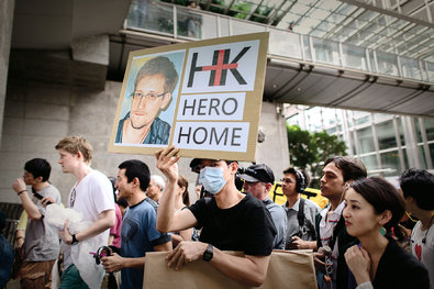 A protest in Hong Kong in support of Edward Snowden on June 15.