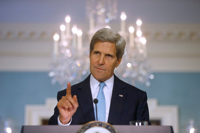 Secretary of State John Kerry made a statement on Friday about Syria at the State Department in Washington.