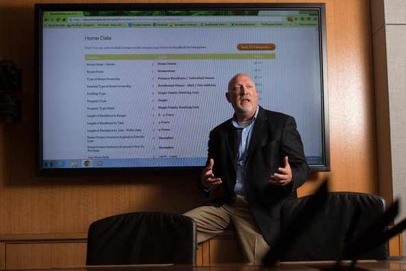 Scott Howe, chief executive of Acxiom, demonstrated his company's new consumer portal by displaying his own residential data.