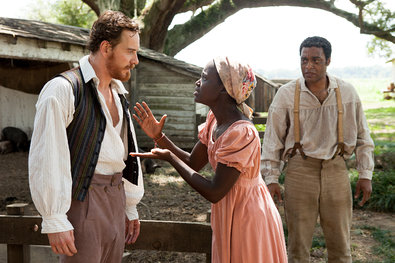 """12 Years a Slave,"" directed by Steve McQueen, with, from left, Michael Fassbender, Lupita Nyong'o and Chiwetel Ejiofor."
