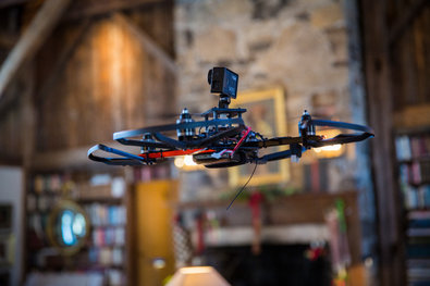 The drone, controlled remotely by a hand-held console, shot footage inside a home for sale in Greenwich, Conn.