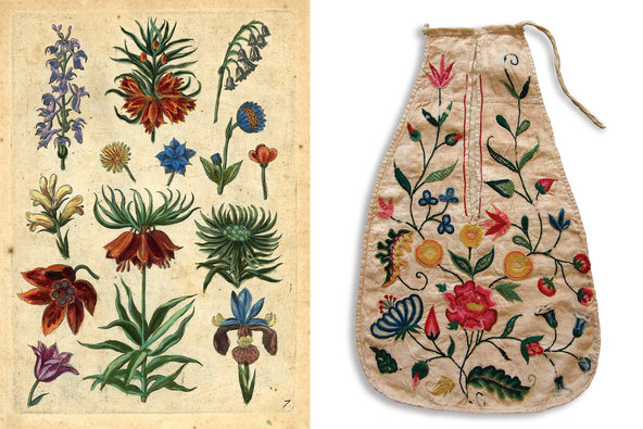 From left: Collaerts Florilegium, Antwerp, 1590; a linen single pocket, with coloured wool embroidery, early- to mid-18th century.