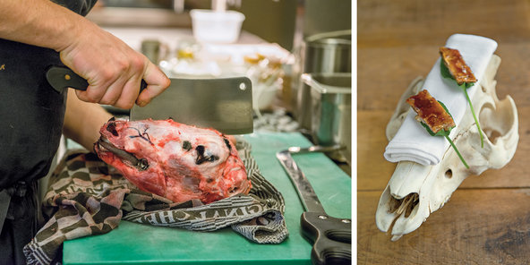 Left: Desramaults cutting into a lamb's head before preparing brains. Right: pork head cheese, served on the skull of a Duroc pig raised for the restaurant in the nearby French town of Borre.