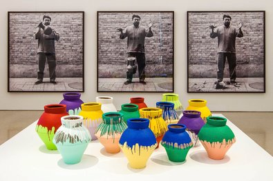 """Colored Vases"" by the artist Ai Weiwei at the Pérez Art Museum Miami in Florida in December 2013. Police on Sunday arrested a man who allegedly smashed one of the vases."
