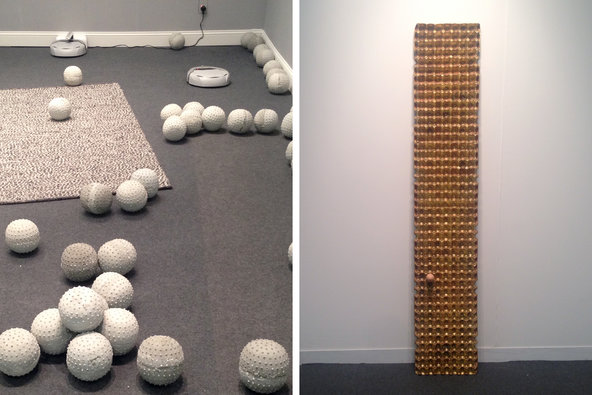 Left: an installation by Nadim Abbas. Right: a piece by He Xiangyu.