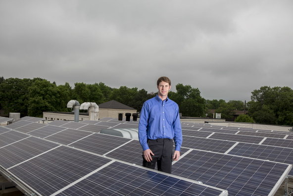 Rick Murphy, general manager of Grandview Tire and Auto in Edina, Minn., which installed solar panels on its roof.