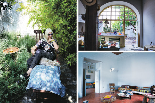 Clockwise from left: Helen Marden, who has been coming to the island for 40 years, in the garden of the home she shares with her husband, Brice; the Mardens' kitchen; their sitting room, with recycled wood chairs from Bangkok and sofa covered in African and Pakistani textiles.