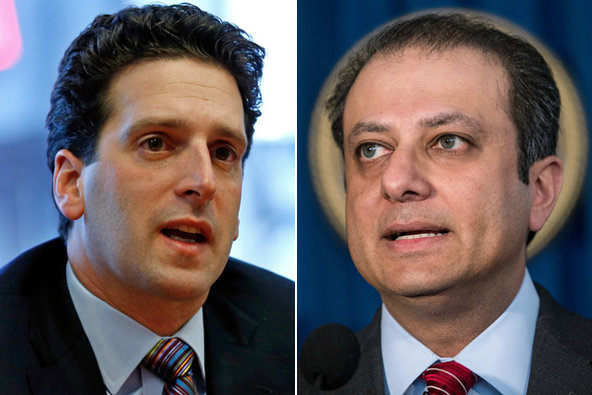 Benjamin M. Lawsky, left, New York's superintendent of financial services, is one of the regulators who is said to have reached an understanding with prosecutors, like Preet Bharara.